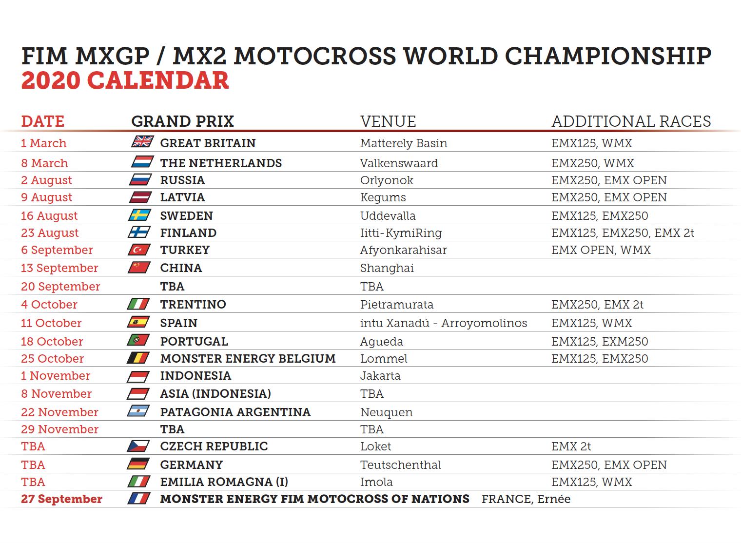 MXGP Calendar update !!