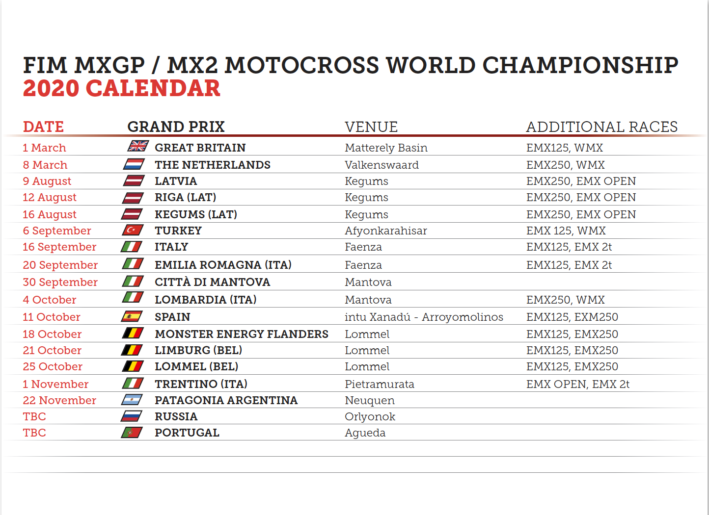 Calendar update!! MXON cancelled !!!