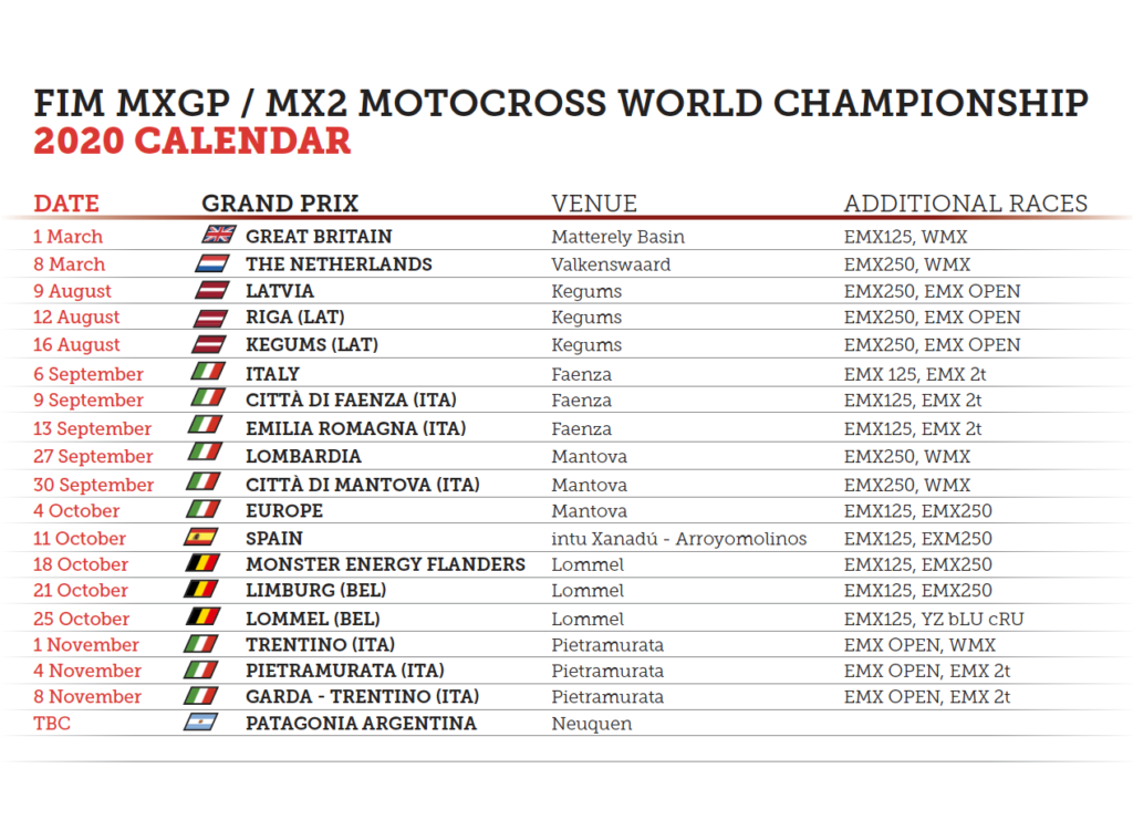 2020 MXGP updated Calendar – September 2020